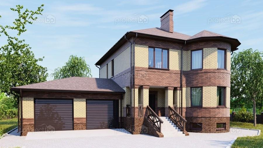 Проект двухэтажного дома с подвалом и гаражом на две машины 320-C